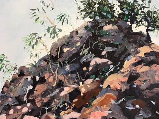 (CreativeWork) Byron Bay Rocks by Meredith Howse. Acrylic Paint. Shop online at Bluethumb.