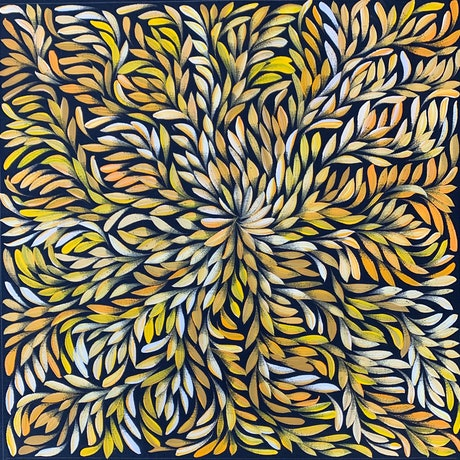 (CreativeWork) Bush Medicine Leaves - Yellow/ Orange (A) II by Louise Numina. Acrylic Paint. Shop online at Bluethumb.