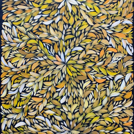 (CreativeWork) Bush Medicine Healing Leaves - Yellow/ Orange (A) I by Louise Numina. Acrylic Paint. Shop online at Bluethumb.