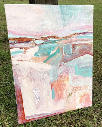 (CreativeWork) Pastel Pasture by Sally Fisher. Acrylic Paint. Shop online at Bluethumb.