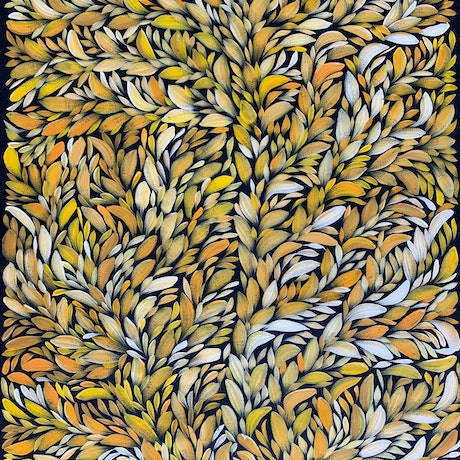 (CreativeWork) Bush Medicine Healing Leaves - Yellow/ Orange (A) II by Louise Numina. Acrylic Paint. Shop online at Bluethumb.