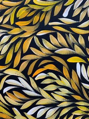 (CreativeWork) Bush Medicine Healing Leaves - Yellow/ Orange (A)  by Louise Numina. Acrylic Paint. Shop online at Bluethumb.