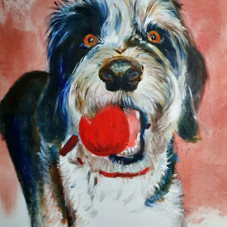 (CreativeWork) The Red Ball by Gerard Mignot. Oil Paint. Shop online at Bluethumb.