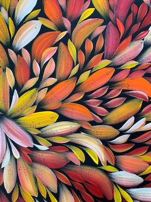 (CreativeWork) Bush Medicine Healing Leaves - Yellow/ Red (A) II  by Louise Numina. Acrylic Paint. Shop online at Bluethumb.