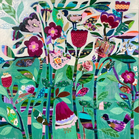 (CreativeWork) Green Garden  by Sandra Oost. Mixed Media. Shop online at Bluethumb.