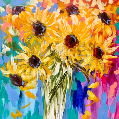 (CreativeWork) You light up my life - sunflowers  by Amanda Brooks. Acrylic Paint. Shop online at Bluethumb.
