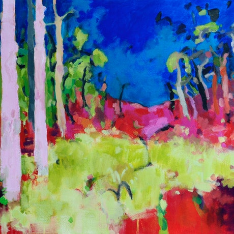 (CreativeWork) Earth and forest speak by Susan Lhamo. Acrylic Paint. Shop online at Bluethumb.