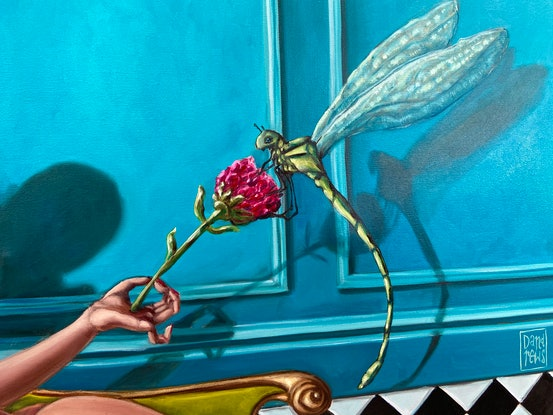 (CreativeWork) Dragonfly by Daria Andrews. Oil Paint. Shop online at Bluethumb.