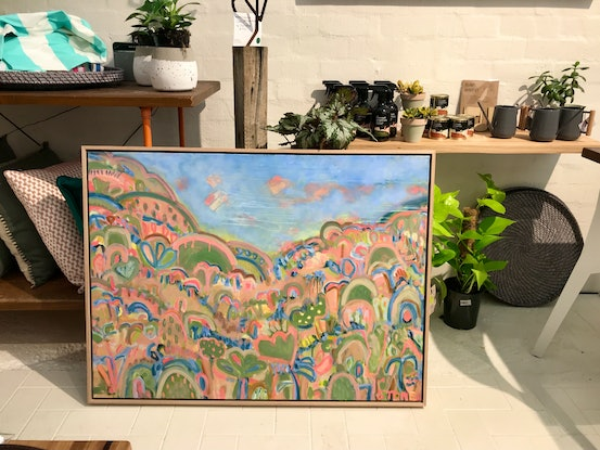 (CreativeWork) HOT SUMMER NIGHTS - FRAMED IN OAK by Belinda Stone. Acrylic Paint. Shop online at Bluethumb.