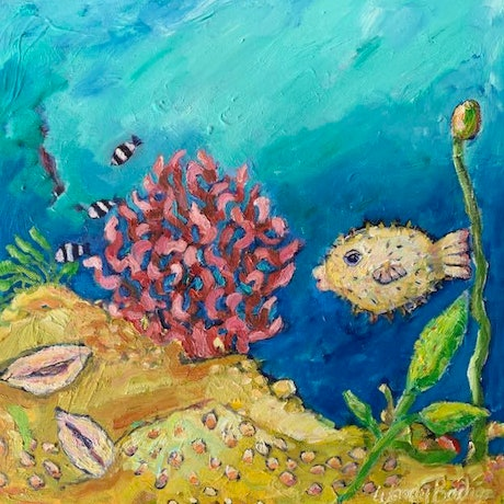 (CreativeWork) Puffer Fish by Wendy Bache. Oil. Shop online at Bluethumb.