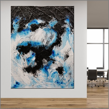 (CreativeWork) Stormy Reach 140cm x 180cm White Black Blue Abstract Textured Acrylic Gloss Finish FRANKO by _Franko _. Acrylic Paint. Shop online at Bluethumb.
