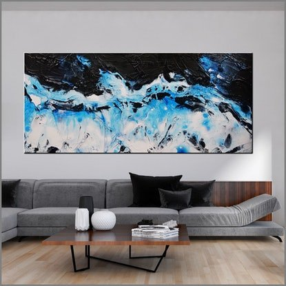 (CreativeWork) Blackened Rain 270cm x 120cm White Blue Black Abstract Textured Acrylic Gloss Finish FRANKO by _Franko _. Acrylic Paint. Shop online at Bluethumb.