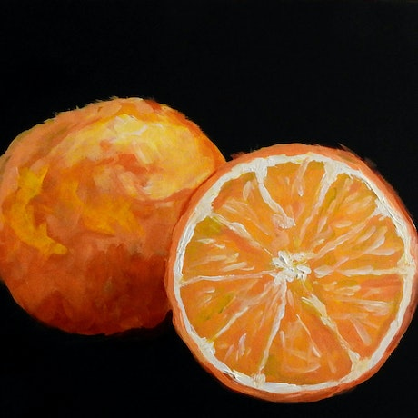 (CreativeWork) Oranges by julie hollis. Acrylic Paint. Shop online at Bluethumb.