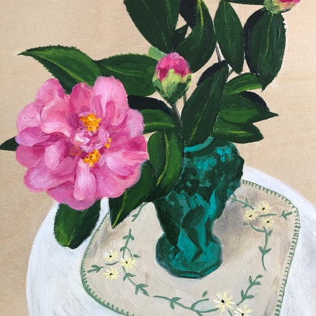 (CreativeWork) Camellias in an Art Deco malachite glass vase #2 by John Klein. Acrylic Paint. Shop online at Bluethumb.