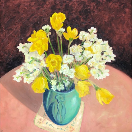 (CreativeWork) Daffodils and Jonquils in an Arts and Crafts Vase by John Klein. Oil Paint. Shop online at Bluethumb.