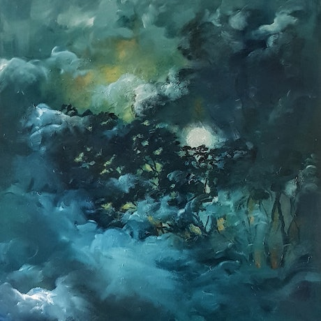 (CreativeWork) Moonlight Gums by Georgina Richmond. Oil Paint. Shop online at Bluethumb.
