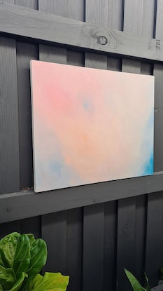 (CreativeWork) pink dusk  by monnica marwick. Oil Paint. Shop online at Bluethumb.