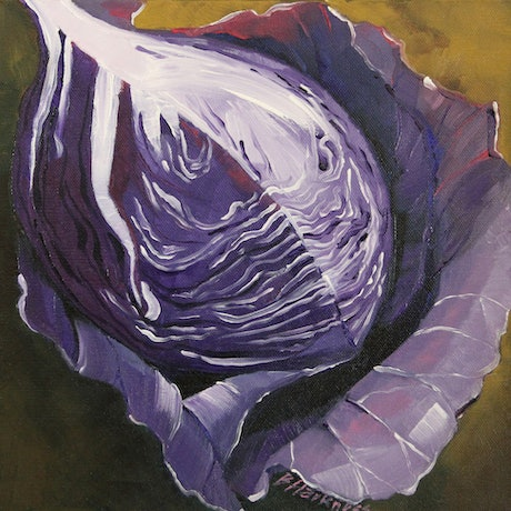 (CreativeWork) Purple cabbage by Barbara Harkness. Oil. Shop online at Bluethumb.