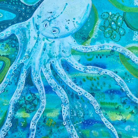 (CreativeWork) My Friend the Octopus  by Anna Just. Mixed Media. Shop online at Bluethumb.