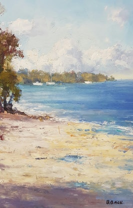 (CreativeWork) Afternoon Serenity. Golden Beach. Qld by Barry Back. Oil Paint. Shop online at Bluethumb.