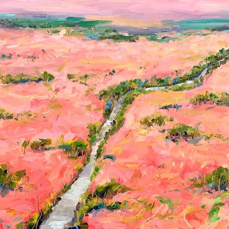 (CreativeWork) Mallee River by Eve Sellars. Oil Paint. Shop online at Bluethumb.