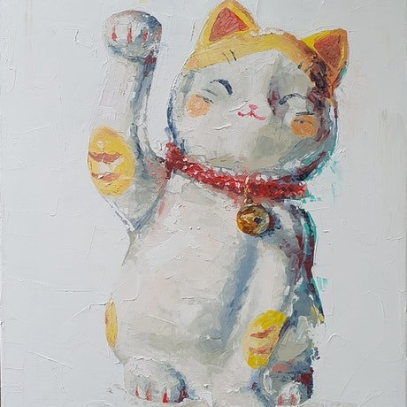 (CreativeWork) Nyaa nyaa by Tim Holiday. Oil Paint. Shop online at Bluethumb.