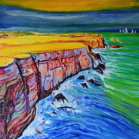 (CreativeWork) The pink.cliff. by Gerard Mignot. Oil Paint. Shop online at Bluethumb.