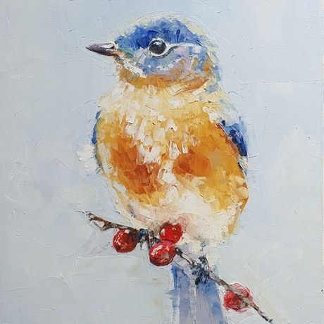 (CreativeWork) Bird  by Tim Holiday. Oil Paint. Shop online at Bluethumb.