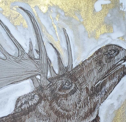(CreativeWork) Arctic Moose in the golden sun by Liz H Lovell. Drawings. Shop online at Bluethumb.