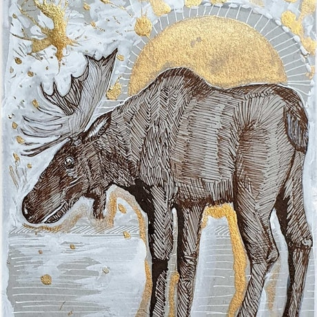(CreativeWork) Arctic Moose sunrise ii by Liz H Lovell. Drawings. Shop online at Bluethumb.