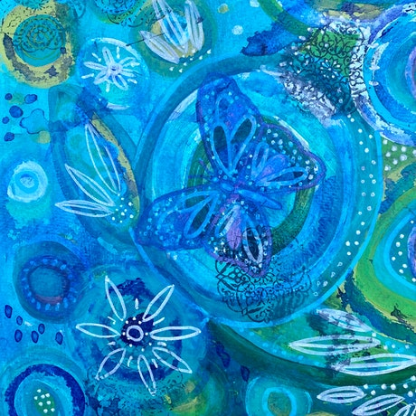 (CreativeWork) Butterfly Abstract  by Anna Just. Mixed Media. Shop online at Bluethumb.