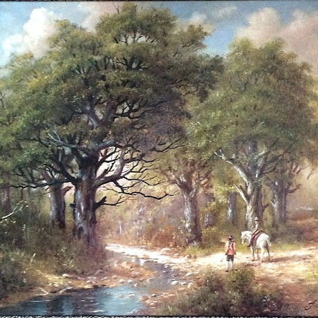 (CreativeWork) Two men near a small creek crossing by Jos Kivits. Oil Paint. Shop online at Bluethumb.