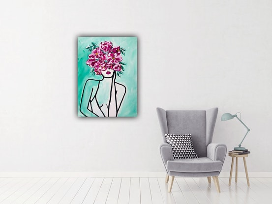 (CreativeWork) Face of flowers  by lyn price. Acrylic Paint. Shop online at Bluethumb.