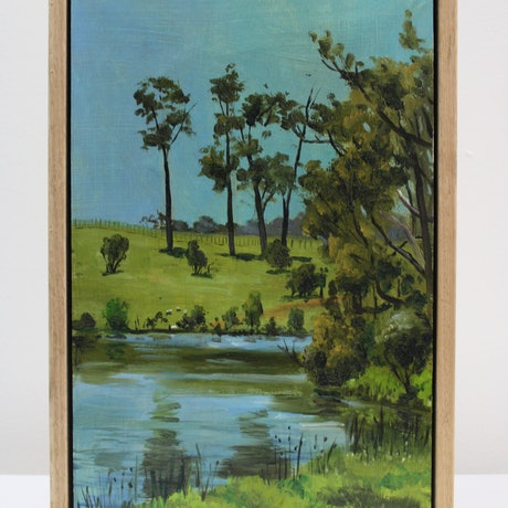 (CreativeWork) Lake at the old farm by Ben Sherar. Oil Paint. Shop online at Bluethumb.