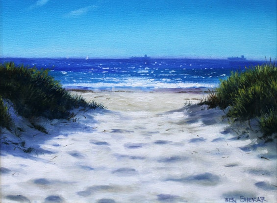 (CreativeWork) Sun and sand by Ben Sherar. Oil. Shop online at Bluethumb.