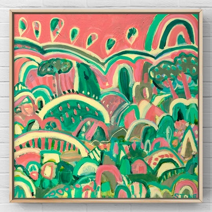 (CreativeWork) CANDY HILLS - FRAMED IN OAK - COLOURFUL ABSTRACT  by Belinda Stone. Acrylic Paint. Shop online at Bluethumb.