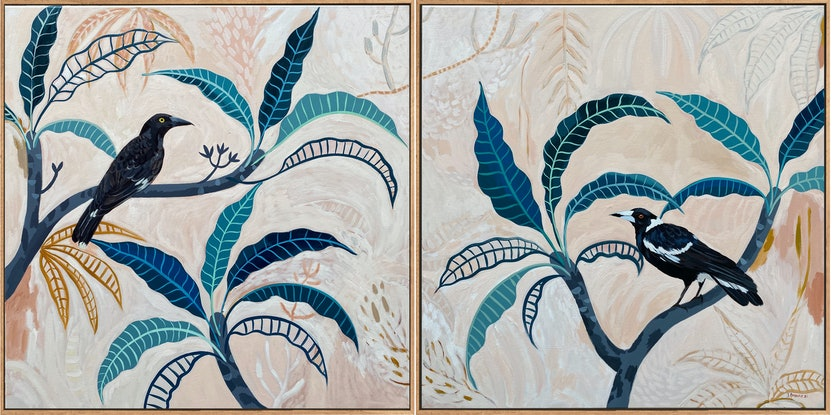 (CreativeWork) Plumeria Meeting Diptych 2021 by Sally Browne. Acrylic Paint. Shop online at Bluethumb.