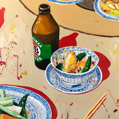(CreativeWork) VB and Honey Chicken  by Ben Tankard. Acrylic Paint. Shop online at Bluethumb.