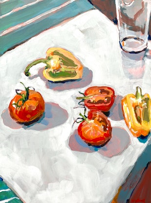 (CreativeWork) Still Life with Tomatoes and Capsicum  by Kate Gradwell. Acrylic Paint. Shop online at Bluethumb.