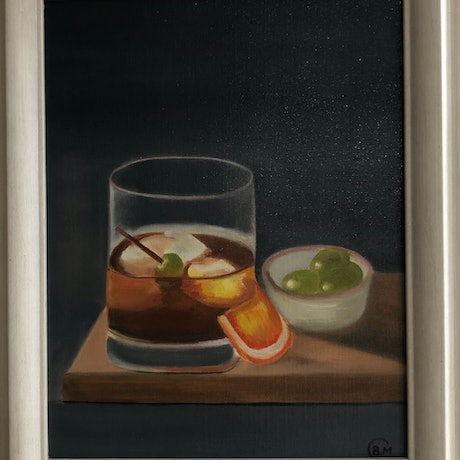 (CreativeWork) Whisky cocktail  by Bernadette McConville. Oil Paint. Shop online at Bluethumb.