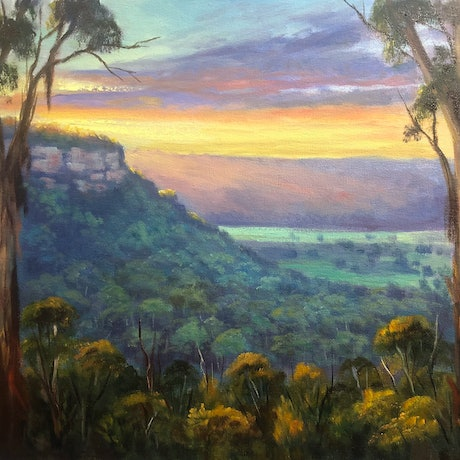 (CreativeWork) A sunset view at Shipley Plateau, Blackheath, NSW by Christopher Vidal. Oil Paint. Shop online at Bluethumb.