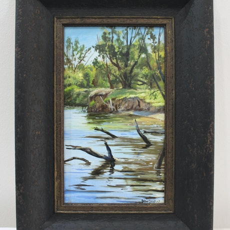 (CreativeWork) River afternoon by Ben Sherar. Oil Paint. Shop online at Bluethumb.