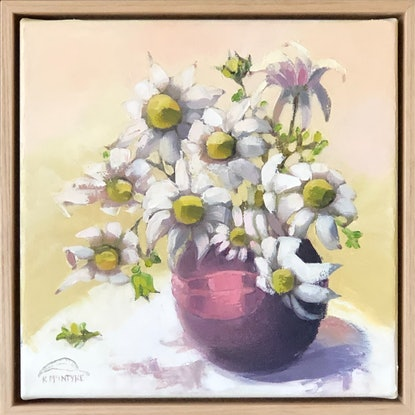 (CreativeWork) Flannel flowers in Melrose vase (33cm framed) by kirsty mcintyre. Oil Paint. Shop online at Bluethumb.
