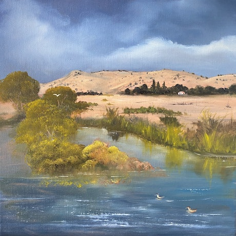 (CreativeWork) From Ross Bridge by Elaine Green. Oil Paint. Shop online at Bluethumb.