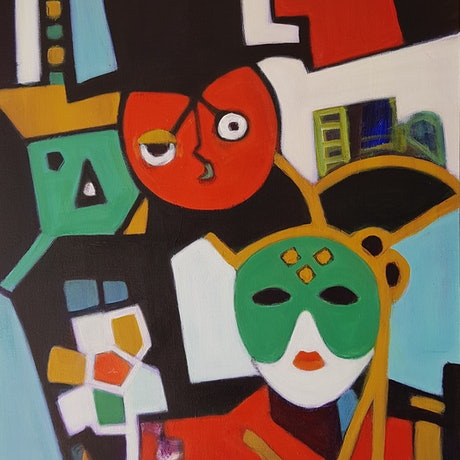(CreativeWork) Carnival in Venice by Margit Major. Acrylic Paint. Shop online at Bluethumb.