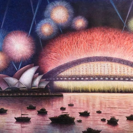 (CreativeWork) Happy New Year Sydney  by Alex Mo. Oil Paint. Shop online at Bluethumb.