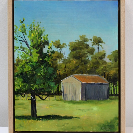(CreativeWork) The Old Shed by Ben Sherar. Oil Paint. Shop online at Bluethumb.