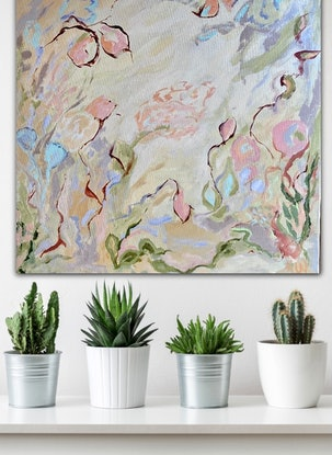 (CreativeWork) Garden of Earthly Delights (Abstract Botanical) by Sue Woolnough. Acrylic Paint. Shop online at Bluethumb.