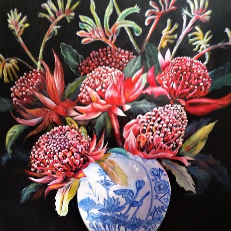 (CreativeWork) 'RED WARATAH & KANGAROO PAW' in Black/gold Frame included.  by Susan Capan. Oil Paint. Shop online at Bluethumb.