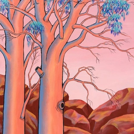 "(CreativeWork) ""SALMON GUMS"" by Saadah Kent. Acrylic Paint. Shop online at Bluethumb."